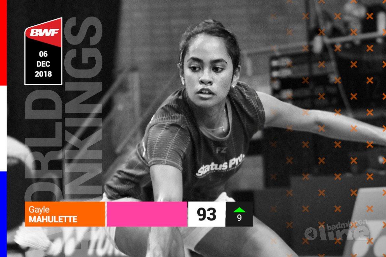 Wereldranglijst van 6 december 2018: badmintonner Gayle Mahulette knalt terug in top 100