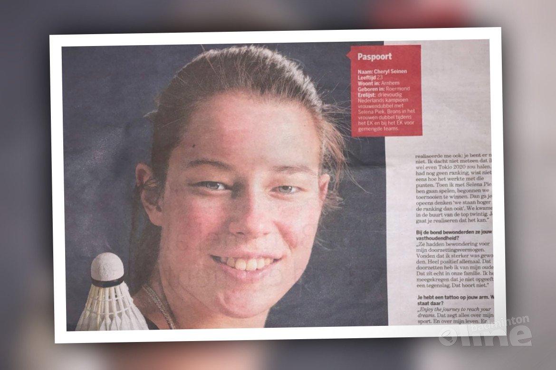 Topbadmintonner Cheryl Seinen in De Limburger: ongekende passie voor badminton
