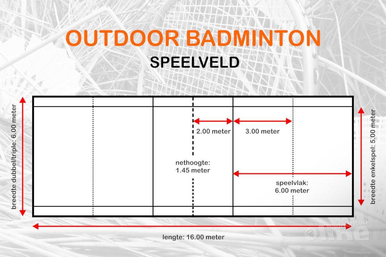 Hoe groot is een speelveld bij outdoor badminton?