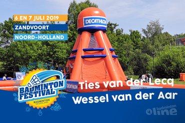 Jeugdbadmintonners Wessel van der Aar en Ties van der Lecq  bij Outdoor Badminton Festival op 6 en 7 juli in Zandvoort