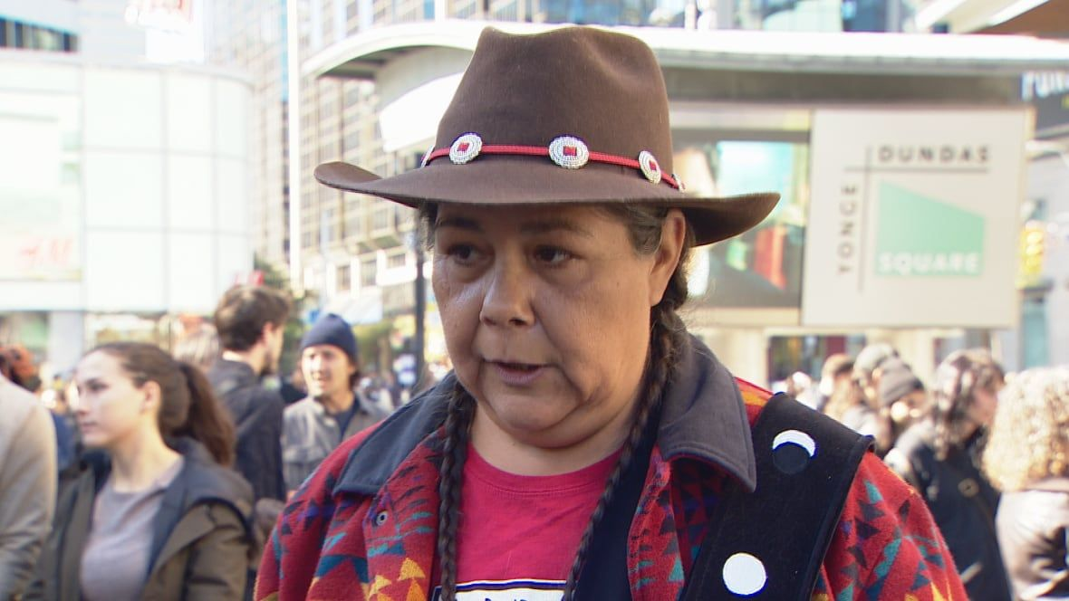 Idle No More says they've 'got little to be thankful for' at Yonge-Dundas demonstration