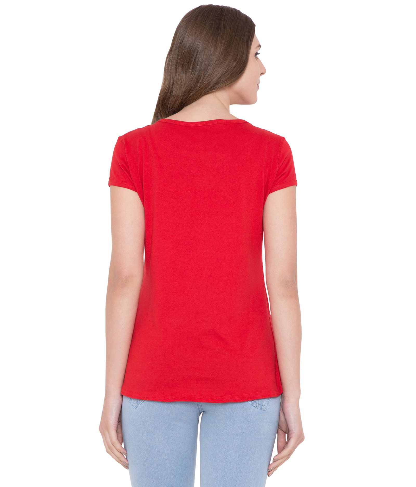 American-Elm Round Neck Slim Fit Printed T-Shirt for Women