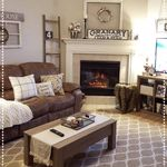 Cozy Living Room Brown Couch Decor Ladder Winter Decor