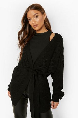 Womens Belted Oversized Boyfriend Cardigan - Black - M/L, Black