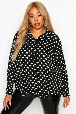 Womens Plus Heart Print Utility Shirt - black - 18, Black