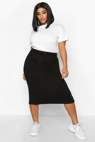 Womens Plus Drawstring Waist Sweat Midi Skirt - black - 26, Black