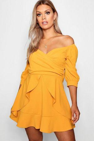 Womens Plus Bardot Ruffle Skater Dress - Yellow - 26, Yellow