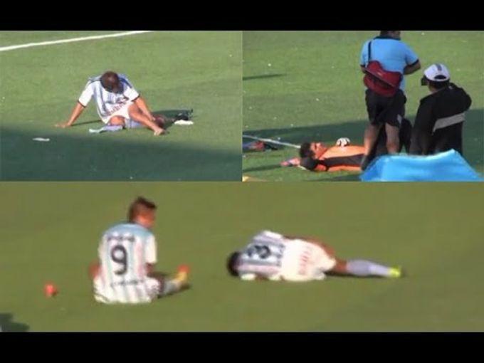 秘魯球隊為免輸得「太肉酸」,竟有5球員同時「插水」強行令比賽中止!