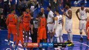 Russel Westbrook 被 Joel Embiid 猛撞倒地痛苦掙扎,起來後十分生氣
