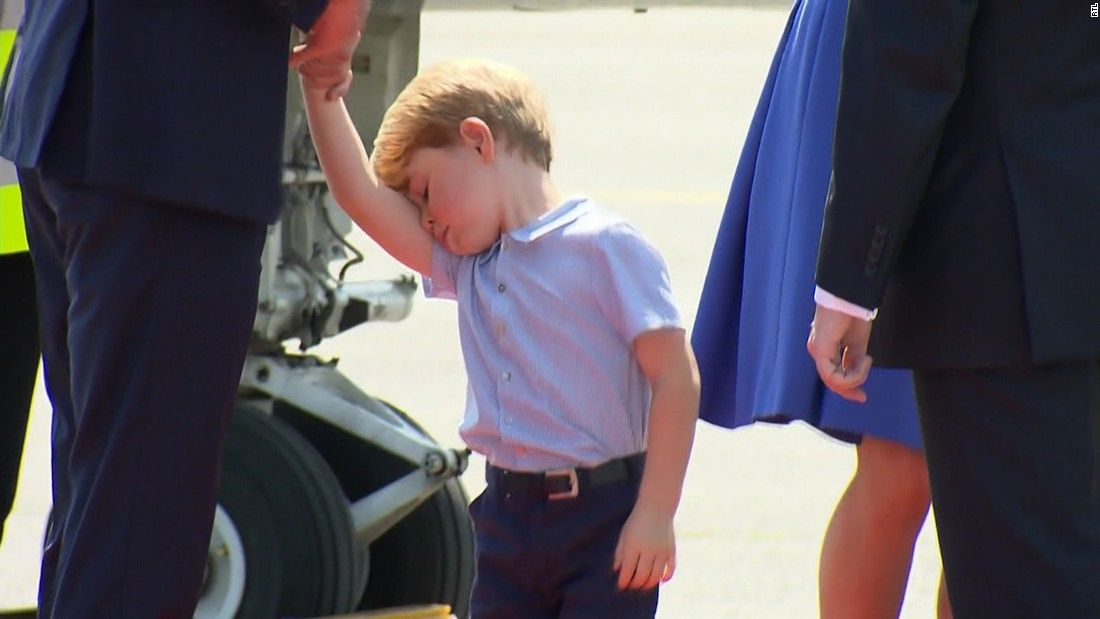 'Worn out' Prince George gets off plane