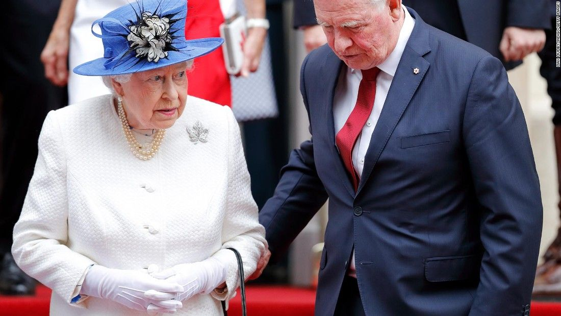 Did he just touch the Queen? Yes, he did