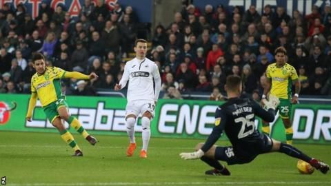 Swansea City 1-4 Norwich City: Leaders earn sixth straight Championship winの代表サムネイル