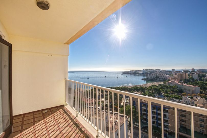 This sea view apartment is located on the first floor of a nice community in Palmanova with a community pool