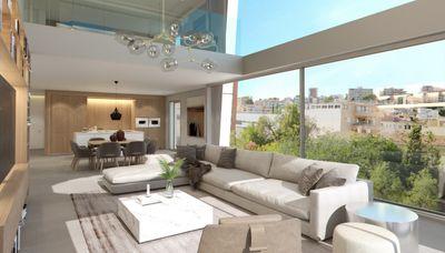 Dieses in Bau befindliche Designer Duplex-Penthouse von 161m² verteilt sich auf 2 Ebenen  zuzuglich einer Dachterrasse von 54m² und einem privaten Pool (25m²)