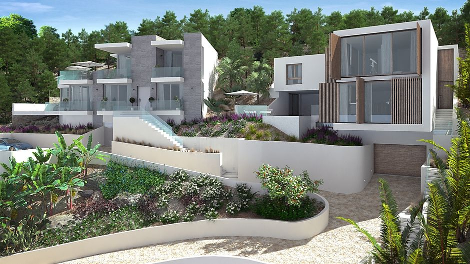This modern designer villa is located in a good location above the center of Santa Ponsa. The living space is distributed over two living levels