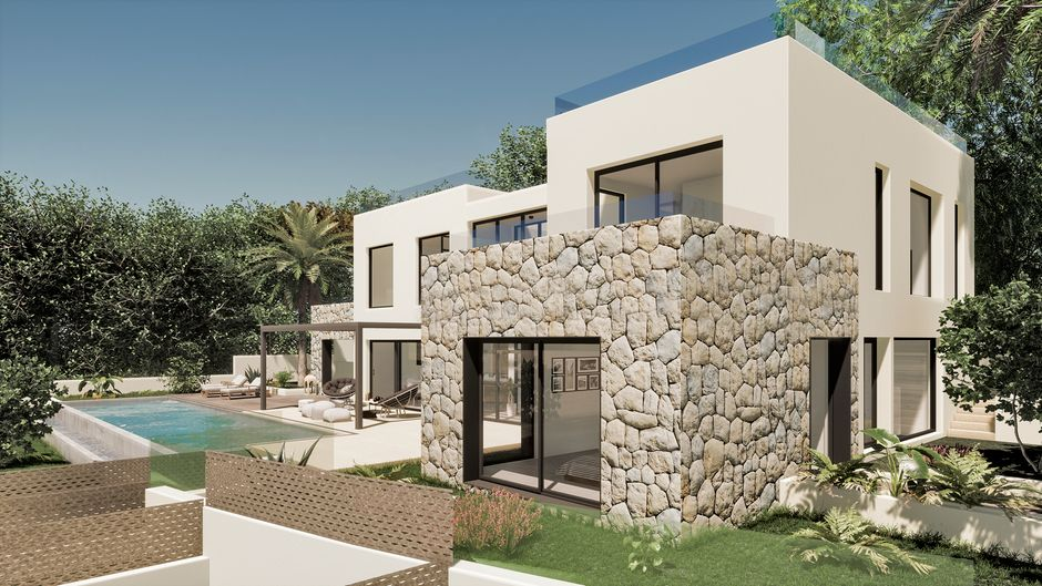 This new construction villa in Mediterranean style with the planned start of construction in autumn 2020, occupies a plot of 939 m2