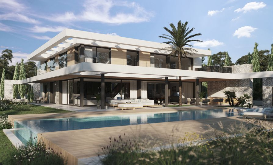 Located in the southwest of the island, this architecturally refined new construction villa is built in the first line of the Nova Santa Ponsa golf course