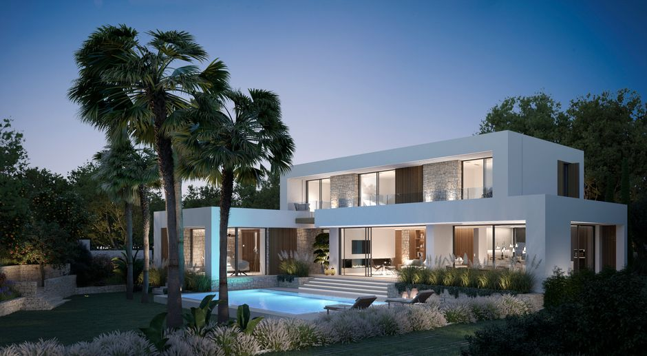 This luxury villa is located in the noble Nova Santa Ponsa and is distributed as follows:   On the ground floor there is the master bedroom with master bathroom,