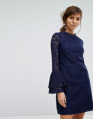 Little Mistress Lace Shift Dress With Fluted Sleeve - Navy