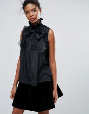 Traffic People Sleeveless Top With Bow Detail - Black