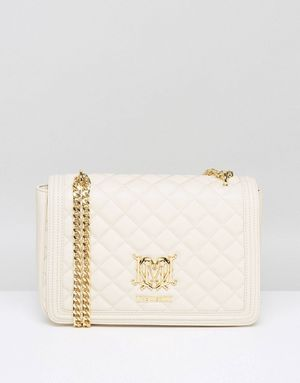 Love Moschino Quilted Shoulder Bag with Chain - Cream