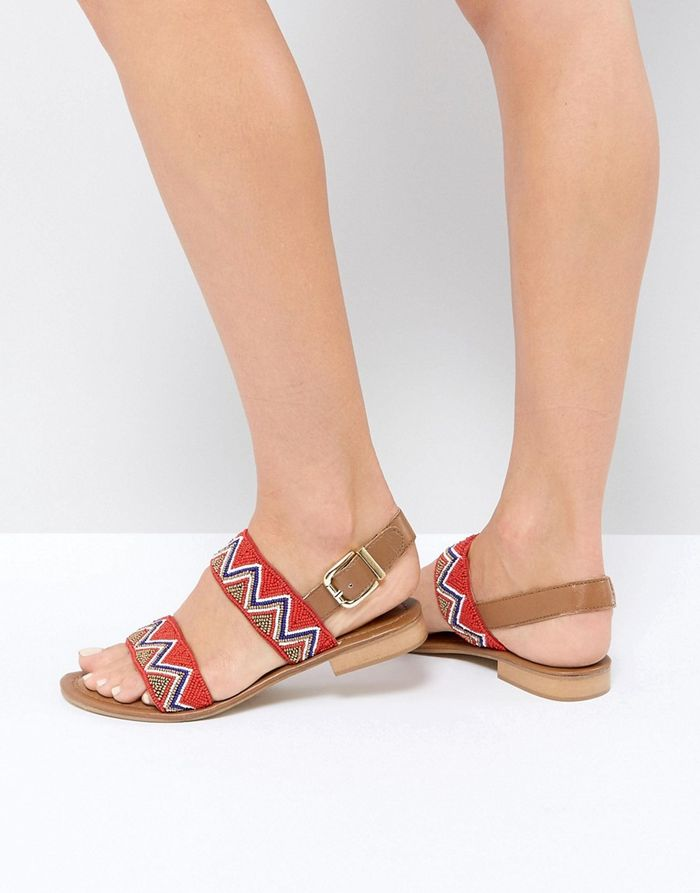 Ravel Beaded Leather Sandal - Red