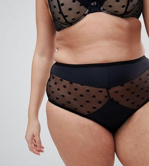 New Look Curve Spotty High Waist Brief - Black
