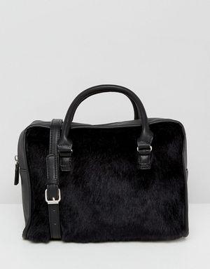 Stradivarius Faux Fur Bowling Bag - Black