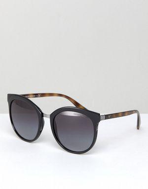 Emporio Armani 0EA2055 Round Sunglasses In Black 55mm - Black