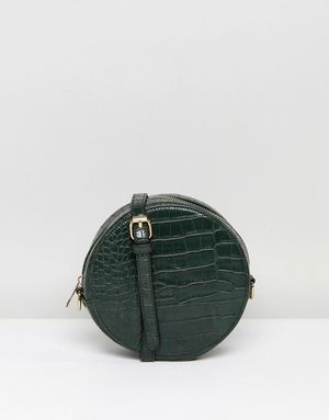 Liquorish Mock Croc Efffect Round Across Body Bag With Chain Strap - Green