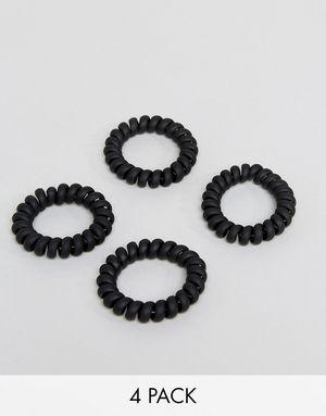 ASOS Pack of 4 Matte Black Jelly Hair Coils - Black