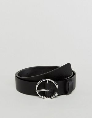 ASOS Jeans Belt With Circle and Triangle Buckle in Water Based PU - Black