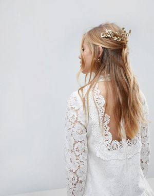 Limited Edition Statement Garden Stoneset Hair Crown - Gold