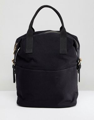 ASOS DESIGN Zip Over Canvas Backpack With Double Handle - Black
