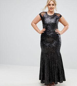 Club L Plus Size Cap Sleeve Mesh Insert Maxi Dress - Black