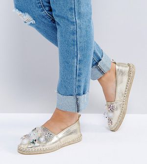 ASOS JOANIE Wide Fit Embellished Espadrilles - Gold