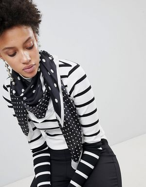 Stradivarius Mono Polka Dot Satin Neck Scarf - Multi