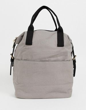 ASOS Zip Over Canvas Backpack with Double Handle - Grey