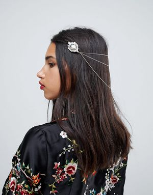 ASOS Embellished Stone Back Hair Chain - Gold