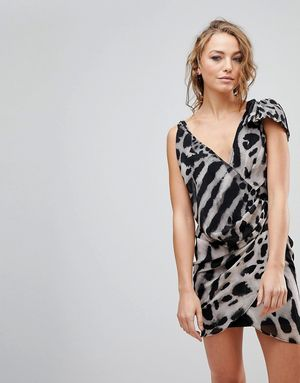 Religion Passion Asymmetric Animal Print Dress - Grey