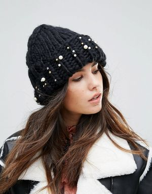 Urbancode Pearl Embellished Knitted Beanie Hat - Black