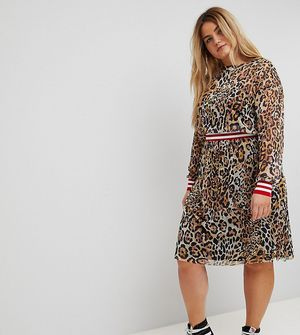 ASOS CURVE Leopard Print Mesh Midi Dress With Rib Detail - Multi