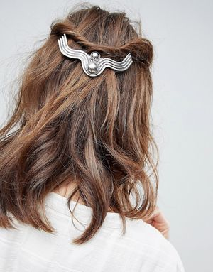 ASOS Engraved Bar and Ball Barrette Hair Clip - Silver