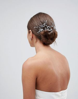 ASOS DESIGN Bridal Crystal Vine Hair Clip - Silver