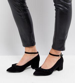 New Look Wide Fit Frill 2-Part Block Heel Court - Black