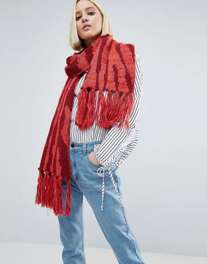Genie by Eugenia Kim Linley Red and Burgundy Zebra Print Scarf - Red
