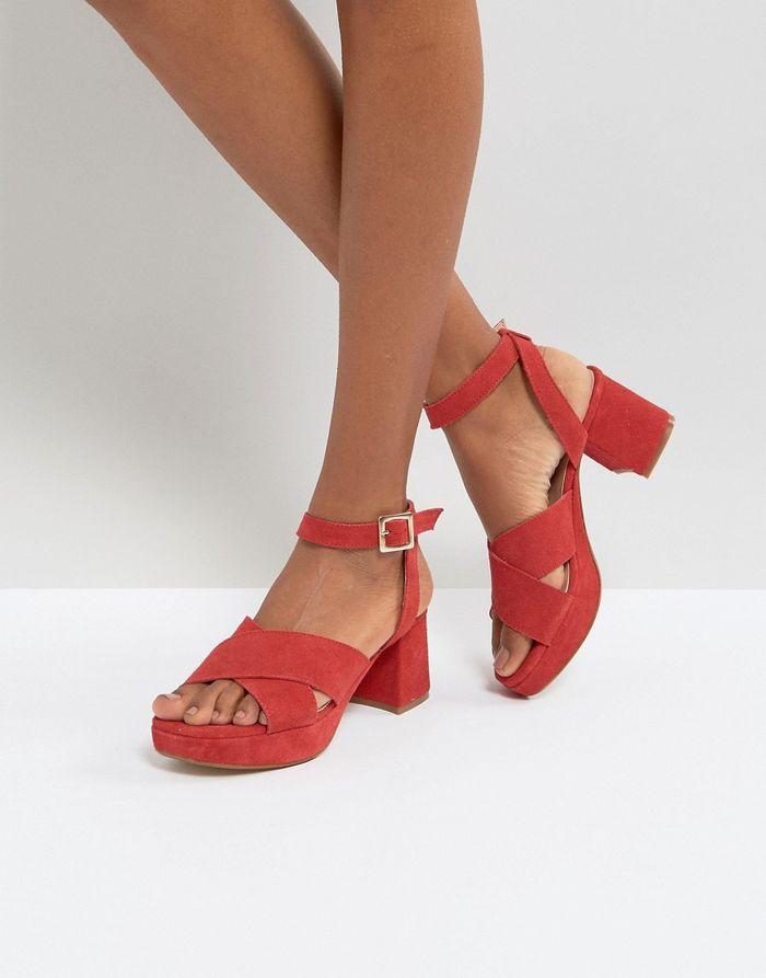 Depp Suede Mid Heel Sandal - Red