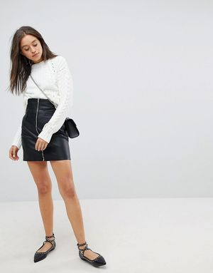 Bershka Zip Detail Leather Look Mini Skirt - Black