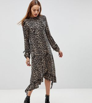 ASOS TALL Soft Trapeze Midi Dress with Pep Hem in Leopard Print - Multi