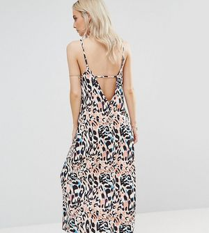 ASOS PETITE V Back City Maxi Dress In Abstract Animal Print - Multi